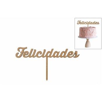 SET 4 TOPPERS FELICIDADES 20X10.5X0.3CM DM