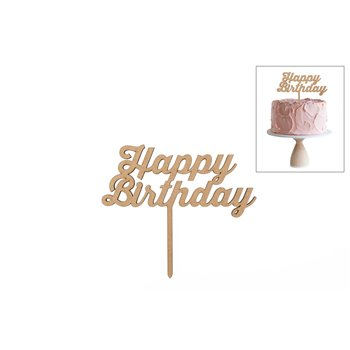 SET 4 TOPPERS HAPPY BIRTHDAY 15X13X0.3CM DM