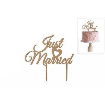 SET 4 TOPPERS JUST MARRIED 20X18.6X0.3CM DM
