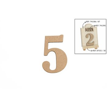 SET 12 NUMEROS 5 5.2X0.3CM DM