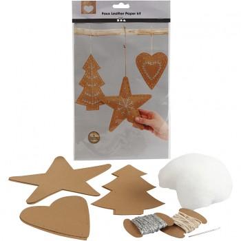 Adornos navideños de cuero sintético