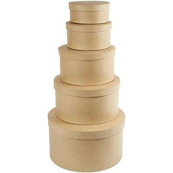 Cajas redondas con tapa - 5 unidades
