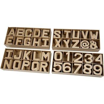 Letras, números y símbolos de papel maché - 160 unidades