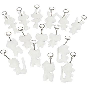 Figuras de tela con llavero - 15 unidades