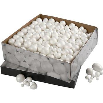 Bolas y huevos de poliestireno - 550 unidades
