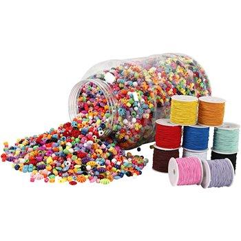 Cubo de plástico con cuentas y cuerdas elásticas - 1 set