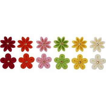 Flores de fieltro - 12 unidades